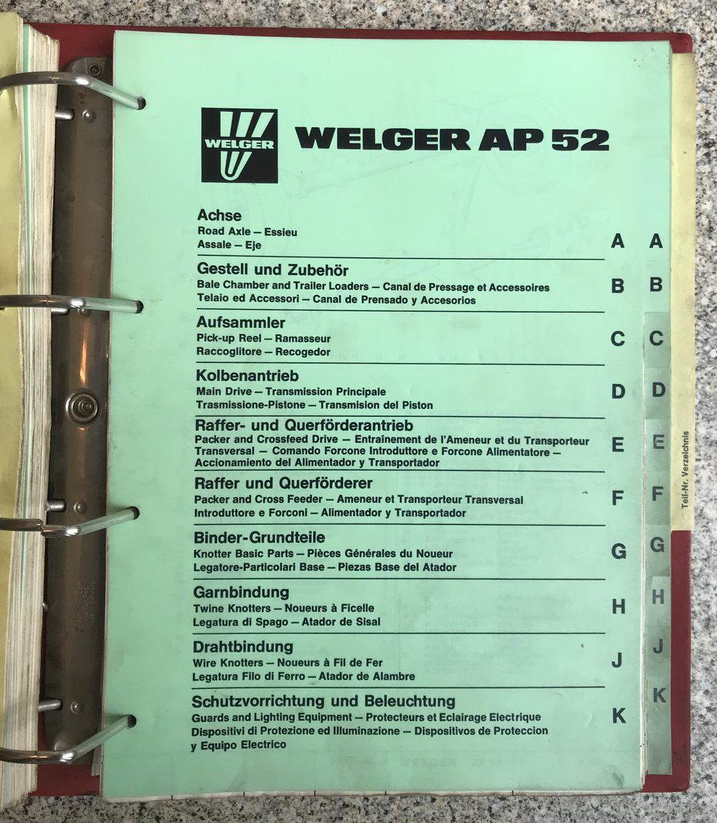Ersatzteileliste für Welger AP 42 und AP 52 Presse