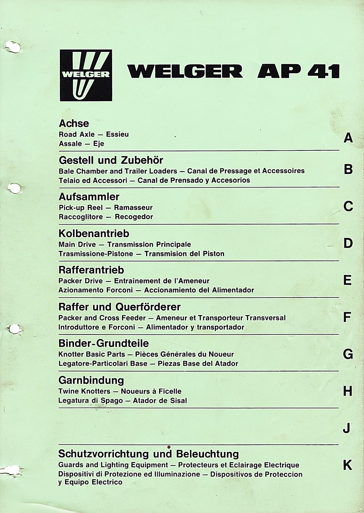 Ersatzteileliste für Welger AP 41 und AP 45 Presse