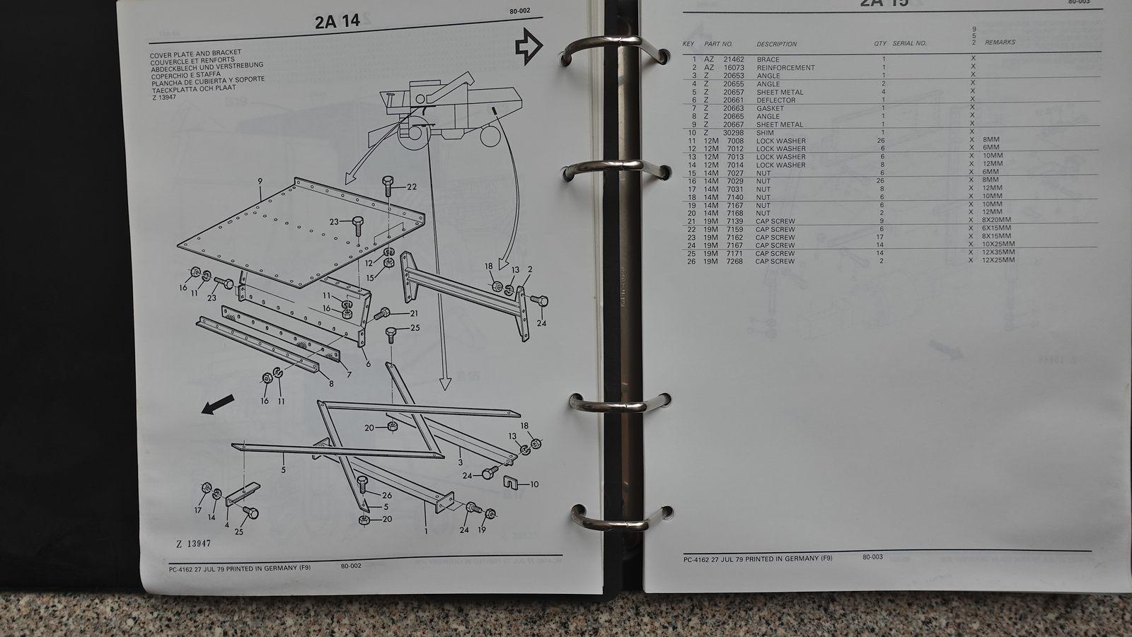 Ersatzteilekatalog für den John Deere 952 Mähdrescher