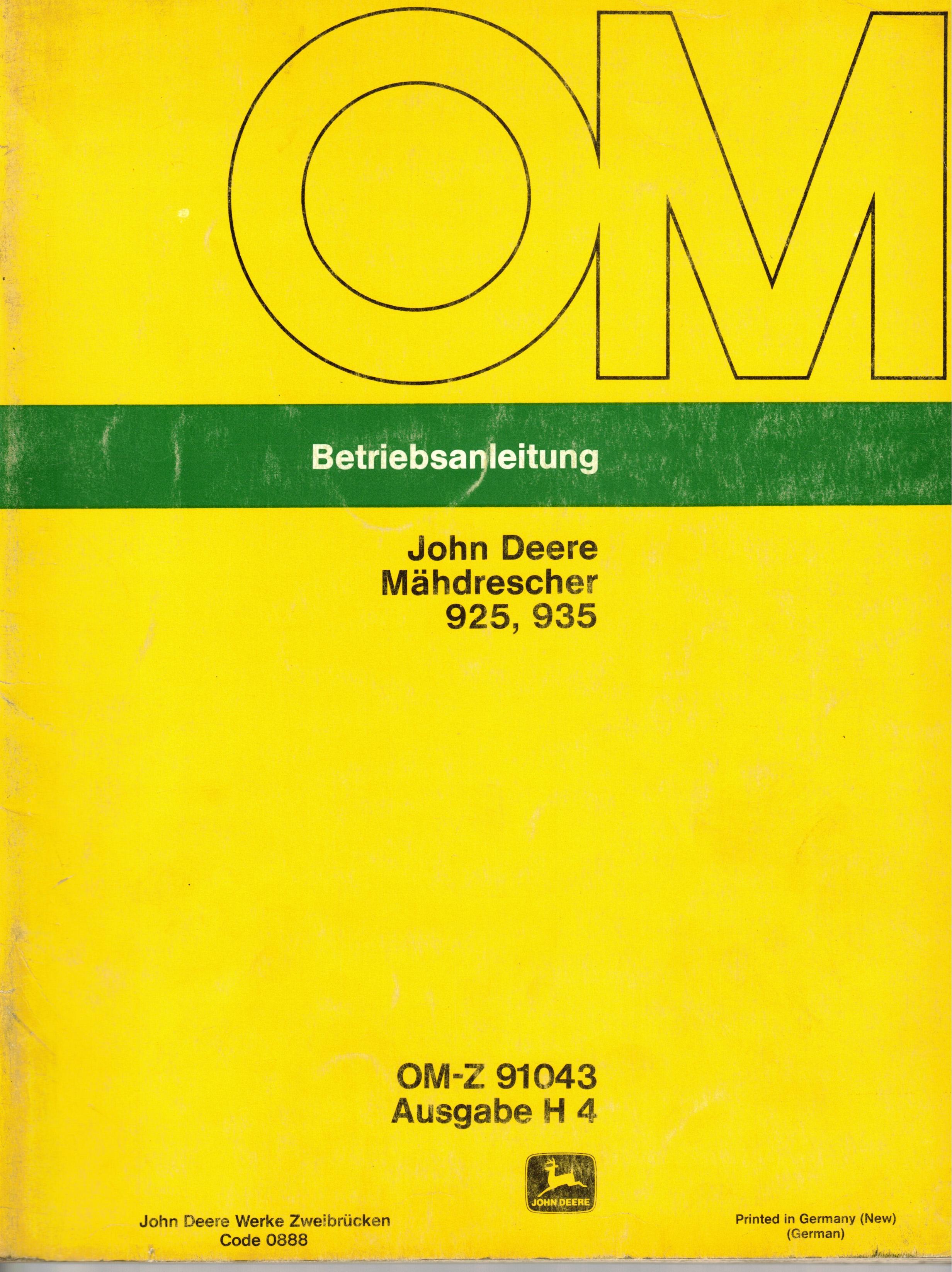 Bedienungsanleitung Mähdrescher John Deere 925 und 935