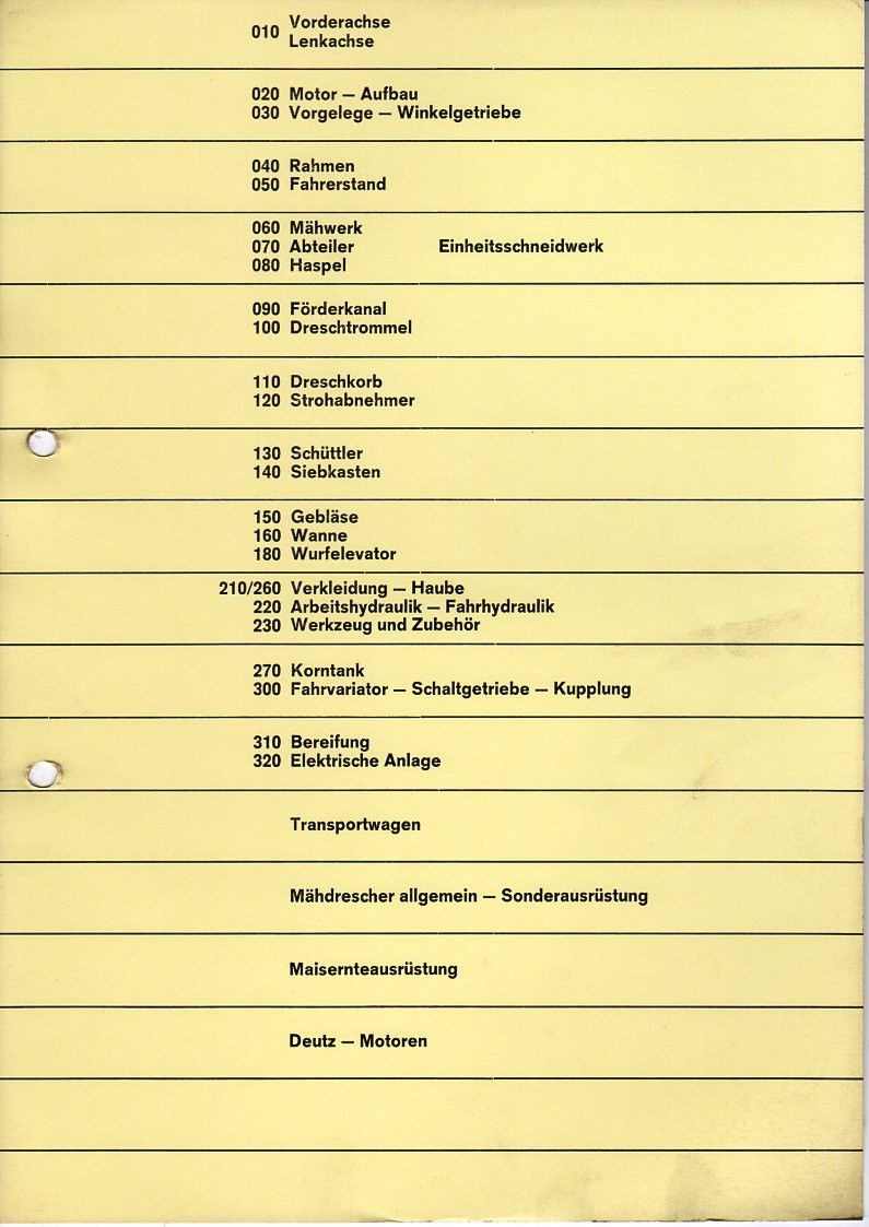Service-Informationen Mähdrescher Deutz M 1320